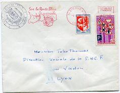 FRANCE LETTRE AVEC LE CACHET DE LA CHAMBRE DE COMMERCE DE SAINT-ETIENNE GREVE DE 1968 OBLITERATION ST ETIENNE 4-6-68 - Marcophilie (Lettres)