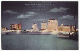 Corpus Christi TX, City Skyline At Night, 1940s Old Vintage Texas Postcard M8755 - Corpus Christi