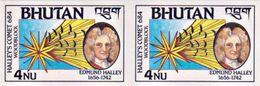 HALLEY'S COMET 4Nu MINT STAMP IMPERF PAIR BHUTAN 1986 MINT/MNH - Azië