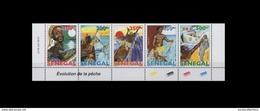 SENEGAL 2015 (DESIGN 1977) EVOLUTION DE LA PECHE FISHING EVOLUTION POISSONS FISHES FISH CHASSE STRIP DATE RARE MNH ** - Sénégal (1960-...)