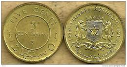 SOMALIA 5 CENTESIMI INSCRIPTIONS FRONT EMBLEM BACK 1967 VF+ READ DESCRIPTION CAREFULLY !!! - Somalie