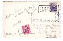 Marcophilie Carte Taxée Timbre Taxe France 5 Francs Sur CPSM PF Italie Torino Avec Timbre 6 Lire - Marcophilie (Lettres)
