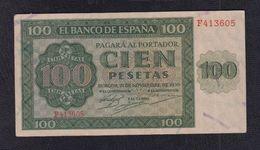 EDIFIL 421a.   100 PTAS 21 DE NOVIEMBRE DE 1936 SERIE F. CONSERVACIÓN EBC- - [ 3] 1936-1975 : Régimen De Franco