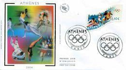 """ENV. PJ De 2004 Avec Timbre Et Illust. """"J.O. D'ATHENES"""" - Oblit. PJ Paris 28.06.2004 - Summer 2004: Athens"""