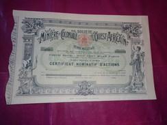 MINIERE ET COLONIALE DE L'OUEST AFRICAIN (certificat) 1908 - Actions & Titres
