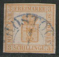 Rostock 4/1 In Blaugrau Auf 3 Shilling Dunkelchromgelb - Schwerin Nr. 2 A - Pracht - Mecklenburg-Schwerin