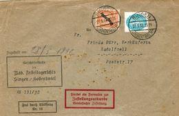 Dt. Reich Dienst Nr. 111 + 127 MiF Auf Postzustellungsurkunde V. Singen (Hohentwiel) 1932 - Servizio