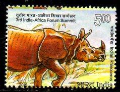 INDE. Timbre Oblitéré De 2015. Rhinocéros. - Rhinozerosse