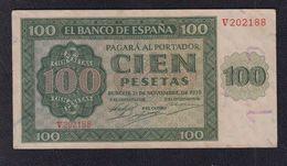 EDIFIL 421a.  100 PTAS 21 DE NOVIEMBRE DE 1936 SERIE V, CONSERVACIÓN EBC - [ 3] 1936-1975 : Régimen De Franco