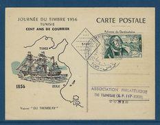Journée Du Timbre 1956 En Tunisie Avec Au Verso Vignette TB - Tunisie (1956-...)