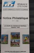 COTE D'IVOIRE IVORY COAST - NOTTICE PHILATELIQUE PHILATELIC LEAFLET -  SOCCER WORLD CUP COUPE MONDE FOOTBALL FRANCE 1998 - Ivory Coast (1960-...)
