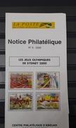 COTE D'IVOIRE IVORY COAST 2000 - OLYMPIC GAMES JEUX OLYMPIQUES - SYDNEY 2000 - NOTTICE PHILATELIQUE PHILATELIC LEAFLET - Ivory Coast (1960-...)