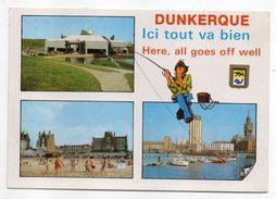 """DUNKERQUE--1988--""""Ici Tout Va Bien!!--Multivues + Illustration Pêcheur--cachet  Dunkerque--59 - Dunkerque"""