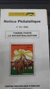 COTE D'IVOIRE IVORY COAST 2002  - NOTTICE PHILATELIQUE PHILATELIC LEAFLET  -  LA DECENTRALISATION DECENTRALIZATION - Ivory Coast (1960-...)