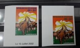 COTE D'IVOIRE IVORY COAST 2002  - IMPERF ND NON DENTELE -  ELEPHANTS ELEPHANT -LA DECENTRALISATION DECENTRALIZATION  MNH - Ivory Coast (1960-...)