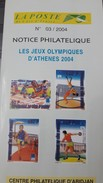 COTE D'IVOIRE IVORY COAST 2004 NOTTICE PHILATELIQUE PHILATELIC LEAFLET OLYMPIC GAMES JEUX OLYMPIQUES ATHENS GREECE- RARE - Ivory Coast (1960-...)