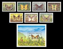 Uzbekistan 1995 Mih. 85/91 + 92 (Bl.9) Fauna. Butterflies MNH ** - Uzbekistan
