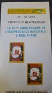 COTE D'IVOIRE IVORY COAST 2004 NOTTICE PHILATELIQUE  44 TH ANNIV. INDEPENDENCE INDEPENDANCE ABIDJANAISE ELEPHANTS - RARE - Ivory Coast (1960-...)