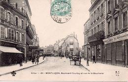CPA 03  ALLIER -  MONTLUCON - Boulevard  Courtay Et Rue De La Boucherie  -  Animée -  Pli 2 Coins Sup - Montlucon