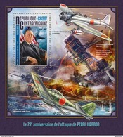 CENTRAFRICAINE 2016 SHEET PEARL HARBOR WORLD WAR WWII ROOSEVELT AVIATION AIRPLANES SECONDE GUERRE MONDIALE Ca16110b - Centrafricaine (République)