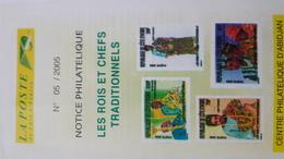 COTE D'IVOIRE IVORY COAST 2005  NOTTICE PHILATELIQUE PHILATELIC LEAFLET - ROIS ET CHEFS TRADITIONNELS COSTUMES - Ivory Coast (1960-...)