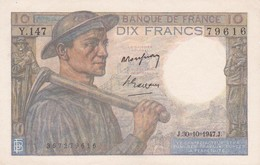 FRANCE : BILLET  10 FRANCS MINEUR Du 30-10-1947 - Froissures (2 Scan) 2 - 1871-1952 Circulated During XXth