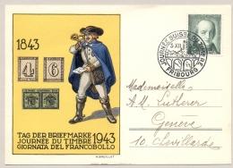 Schweiz - 1943 - 5+5 Cent Pro Juventute On Postcard Journee Du Timbre Fribourg To Geneve - Schweiz