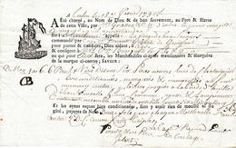 """TOULON (83) 18 Février 1790 - Connaissement Tartane """"LE VIERGE DE BON SECOURS"""" Capitaine Vincent GILBERT De GRUISSANT - Documentos Históricos"""
