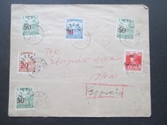 Ungarn 1919 Baranya Serbische Besetzung Expres Brief Von Üszög - Pecs! Verwendet 1923!! 6 Marken! RRR - Brieven En Documenten