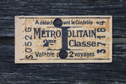 Ticket De Métropolitain Paris 2ème Classe Série I Valable Pour 2 Voyages Utilisé - Métro