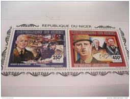 Niger-1991--Churcill, De Gaulle- MI.1135A-1140A Collective Sheet - De Gaulle (Général)