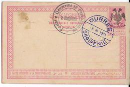 ALBANIE - 1913 - RARE CARTE ENTIER De TURQUIE SURCHARGE ALBANAISE + CACHET De SERVICE (OBLIGATOIRE) - COTE MI = 1000 EUR - Albanie