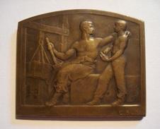 MEDAILLE PLAQUE  Par E. BLIN (1877 - 1946).  FRENCH ART MEDAL. - Professionali / Di Società