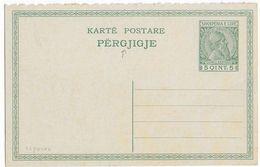 ALBANIE - 1913 - CARTE ENTIER SKANDERBERG PARTIE REPONSE - Albanie