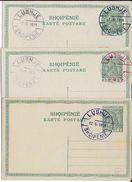 ALBANIE - 1913 - 3 CARTES ENTIER SKANDERBERG OBLITEREES LUSHJE 1914 Avec 3 COULEURS DIFFERENTES - Albania