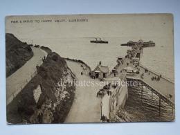 UK GALLES WALES LLANDUNDO Pier & Paths Happy Valley Ship  Old Postcard - Pays De Galles