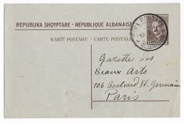 ALBANIE - 1927 - CARTE ENTIER ZOGU VOYAGEE De ELBASAN => PARIS - RARE ! - Albanie