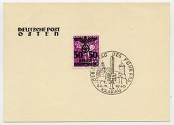GENERAL GOVERNMENT 1940 Overprint 50 On 50 Gr. Narrow Spacing With Special Postmark For Hitler's Birthday.  Michel 24 II - Occupation 1938-45
