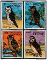 ~~~  Congo Brazzaville 1996 - Fauna  Birds Owls - Mi. 1458/1461 YT. 1023/1026  ** MNH ~~~ - Congo - Brazzaville