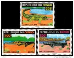 ~~~  Congo Brazzaville 1996 - Fauna Crocodiles Reptiles - Mi. 1493/1495  YT. 1018/1020  ** MNH ~~~ - Congo - Brazzaville