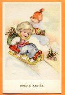 ALB546, Petite Fille En Luge, Bonnet Rouge, 44115, Fantaisie, Non Circulée - New Year