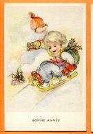 ALB547, Petite Fille En Luge, Bonnet Rouge, 44115/1, Fantaisie, Non Circulée - New Year
