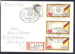 Germany 1974 Registered Cover;  Football Soccer Fussball Cacio; FiFA WC Deutschland Weltmeister / Germany Champion - Coppa Del Mondo