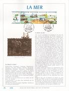 Feuillet D'Art Frappé Or Fin 23 Carats - FDC - LA MER  - Timbres N° 2273/76 + Vignette - Feuillets De Luxe