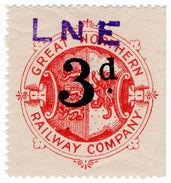 (I.B) Great Northern Railway : Parcel Stamp 3d (LNER Overprint) - 1840-1901 (Victoria)