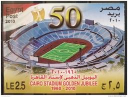 E24 - Egypt 2010 MNH S/S Block Souvenir Sheet - Cairo Football Stadium Golden Jubilee - Egypt