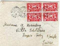 N° 244 Bloc De 4  LEGION AMERICAINE  Sur Lettre Pour La SUISSE    27/9/1927 - 1921-1960: Modern Period
