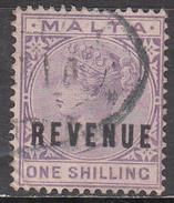 MALTA   SCOTT NO. TYPE A3     USED    YEAR  1885   REVENUE OVERPRINT - Malta (...-1964)