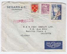 1954 Air Mail FRANCE COVER To INDIA Tourcoing To Calcutta, Franked 1f Arms 10f Marianne De Gandon 50f Jewelry Stamps - Covers & Documents