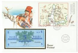 Finlande // Lettre Avec Bloc Finlandia 1988 Et Billet De Banque Neuf De 5 Suomen Pankki )1963) - Finlande